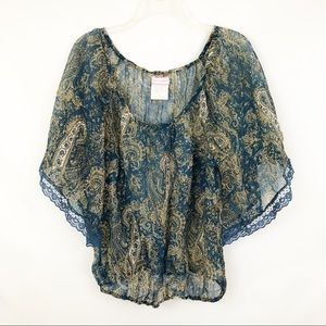 Band of Gypsies Paisley Dolman Sleeve Lace Top M